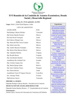 XVI Reunión de la Comisión de Asuntos Económicos, Deuda Social