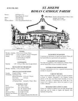 ST. JOSEPH ROMAN CATHOLIC PARISH