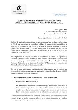 LUCES Y SOMBRAS DEL ANTEPROYECTO DE LEY