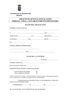solicitud licencia instalacion terraza aneja a establecimiento hostelero