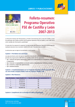 Folleto-resumen: Programa Operativo FSE de Castilla y León 2007