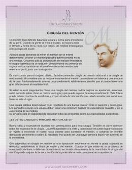 Dr. Gustavo Miery www.gustavomiery.com Cirugía del mentón