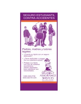 SEGURO ESTUDIANTIL CONTRA ACCIDENTES Padres, madres y