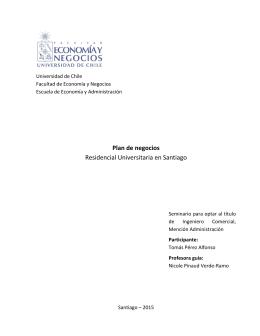 Plan de negocios Residencial Universitaria en Santiago