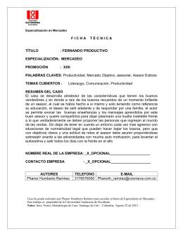 FERNANDO PRODUCTIVO ESPECIALIZACIÓN: MERCADEO