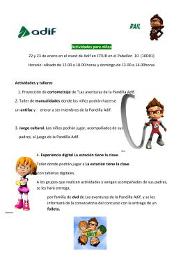 Actividades para niños 22 y 23 de enero en el stand de Adif en