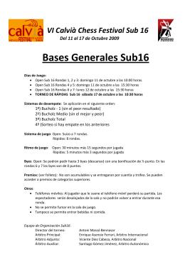 Bases de los torneos Sub16