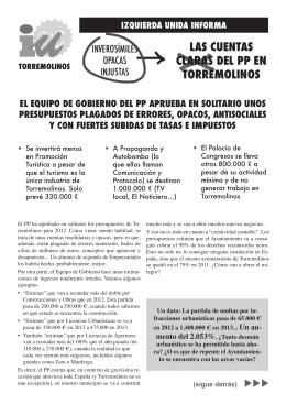 Presupuestos del Ayuntamiento de Torremolinos 2013