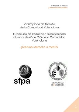 V Olimpiada de Filosofía de la Comunidad Valenciana I Concurso