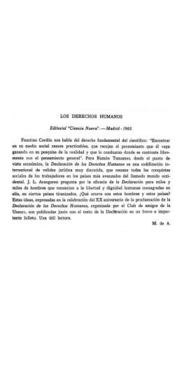 """LOS DERECHOS HUMANOS Editorial """"Cieneia Nueva""""."""