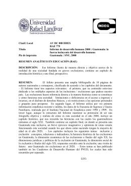 Clasif. Local AV DC 008 IDIES RAE 779 Título Informe de desarrollo