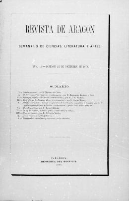 Revista de Aragón, año I, número 12 (22 de diciembre de 1878)