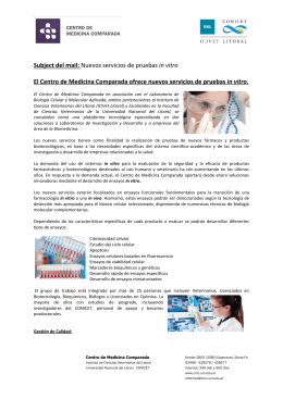 Parte de prensa Metodos In Vitro - Centro Científico Tecnológico