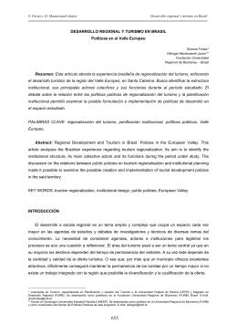 DESARROLLO REGIONAL Y TURISMO EN BRASIL Políticas en el