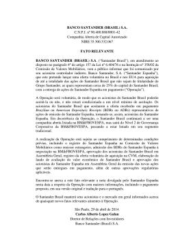 BANCO SANTANDER (BRASIL) S.A. C.N.P.J. nº 90.400.888/0001