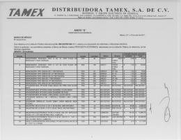 TAMEX DISTRIBUIDORA TAMEX, S.A. DE C.V.