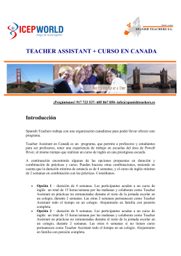 TEACHER ASSISTANT + CURSO EN CANADA