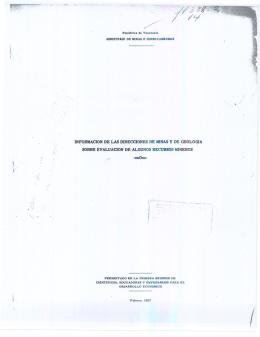 Información de las direcciones de minas y de geología sobre