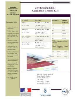 Certificación DELF Calendario y costos 2015