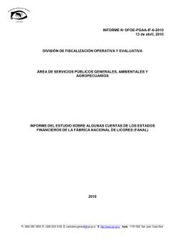 INFORME Nº DFOE-PGAA-IF-6-2010 13 de abril, 2010 DIVISIÓN DE