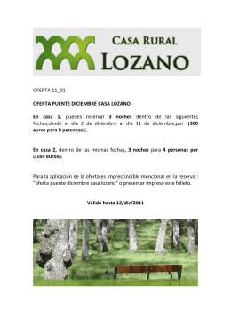 OFERTA 11_01 OFERTA PUENTE DICIEMBRE CASA LOZANO En