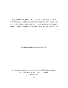 análisis de la incidencia de la sentencia t025/04 de la corte