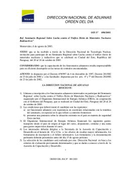 DIRECCION NACIONAL DE ADUANAS ORDEN DEL DIA