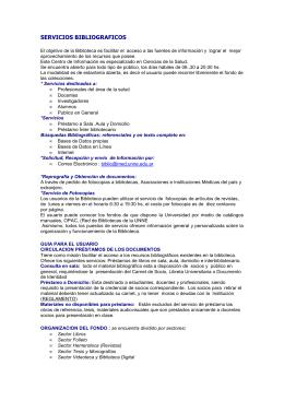 SERVICIOS BIBLIOGRAFICOS - Facultad de Medicina