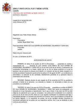jdo.1ª instancia n.8 y mercantil leon fecha de notificacion 3/02/15