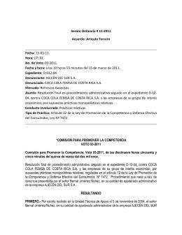 CR-Conducta Unilateral-2011-COCA COLA FEMSA DE COSTA