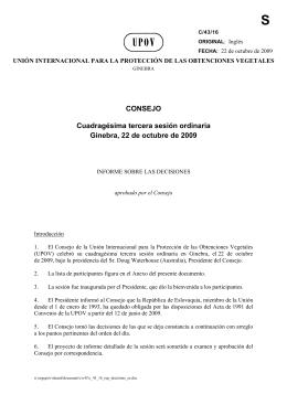 CONSEJO Cuadragésima tercera sesión ordinaria Ginebra, 22 de