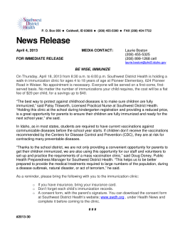 News Release - Southwest District Health