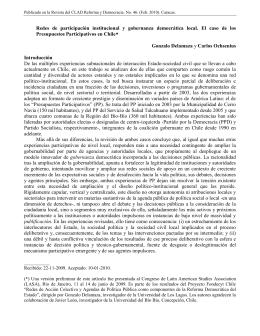 Redes de participación institucional y gobernanza democrática local