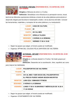 Cursos infantiles - Ayuntamiento de Valtierra