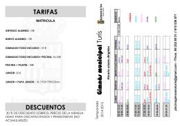 TARIFAS DESCUENTOS Gimnà s municipal Gimnà s municipal