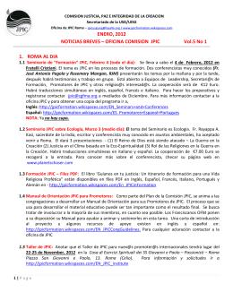 OFICINA COMISION JPIC Vol.5 No 1 1. ROMA AL DIA