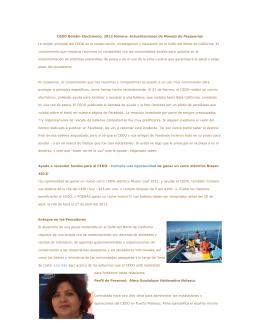 CEDO Boletín Electrónico, 2012 febrero: Actualizaciones de Manejo