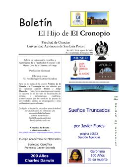 """Boletín """"El hijo del Cronopio"""", Número 495"""