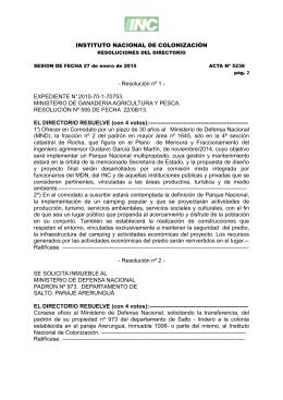 ACTA N° 5238 del 27/01/2015 - Instituto Nacional de Colonización