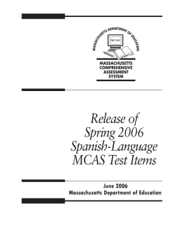 Release of Spring 2006 Test Items (Spanish) (with answer key)