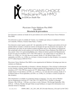 Physicians Choice Medicare Plus HMO Plan HMO Directorio de