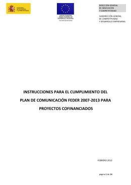 Instrucciones del Plan de Comunicación FEDER