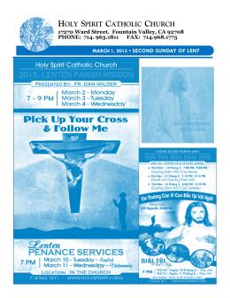 March 1, 2015 - Holy Spirit Catholic Church