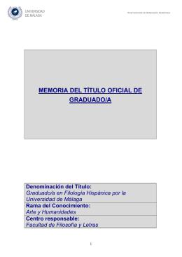 Grado en FILOLOGÍA HISPÁNICA