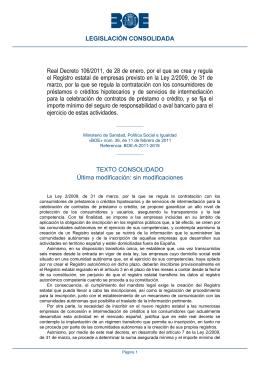 Real Decreto 106/2011, de 28 de enero, por el que se crea