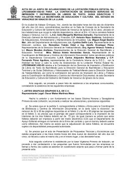ACTA DE LA JUNTA DE ACLARACIONES DE LA LICITACIÓN