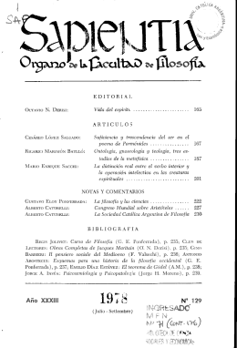 Sapientia Año XXXIII, Nº 129, 1978 - Biblioteca Digital