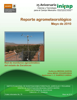 Reporte agrometeorológico Mayo de 2010