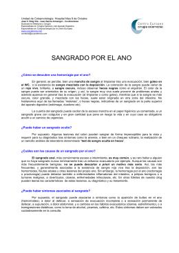 SANGRADO POR EL ANO