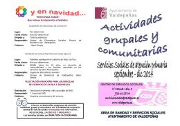 Actividades Grupales y Comunitaria. Serv. Sociales. Atencion